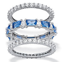 3.24 TCW Cubic Zirconia and Blue Emerald-Cut Crystal 3-Piece Eternity Ring Set Platinum-Plated