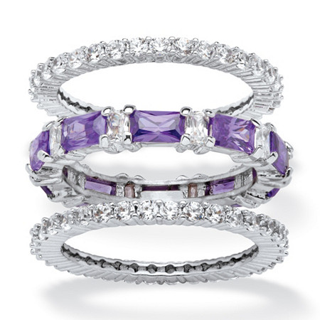3.24 TCW Cubic Zirconia and Emerald-Cut Purple Crystal 3-Piece Stackable Ring Set Platinum-Plated at PalmBeach Jewelry