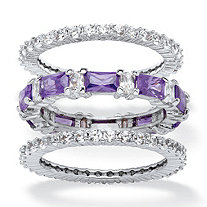 3.24 TCW Cubic Zirconia and Emerald-Cut Purple Crystal 3-Piece Stackable Ring Set Platinum-Plated