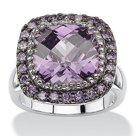 4.59 TCW Cushion-Cut Bezel-Set Amethyst Cubic Zirconia Pave Halo Cocktail Ring in Silvertone at PalmBeach Jewelry