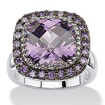4.59 TCW Cushion-Cut Bezel-Set Amethyst Cubic Zirconia Pave Halo Cocktail Ring in Silvertone