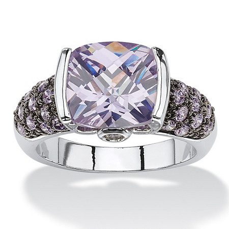 5.45 TCW Cushion-Cut Amethyst Cubic Zirconia Cocktail Ring Silvertone and Black Ruthenium-Plated at PalmBeach Jewelry