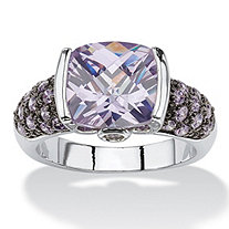 5.45 TCW Cushion-Cut Amethyst Cubic Zirconia Cocktail Ring Silvertone and Black Ruthenium-Plated