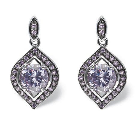 5.30 TCW Amethyst Cubic Zirconia Marquise Halo Earrings Silvertone and Black Ruthenium-Plated at PalmBeach Jewelry