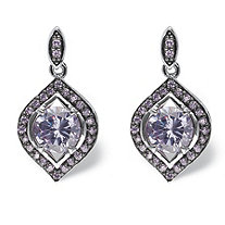 5.30 TCW Amethyst Cubic Zirconia Marquise Halo Earrings Silvertone and Black Ruthenium-Plated