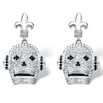 SETA JEWELRY 2.25 TCW Micro-Set Cubic Zirconia Laughing Skull with Headphones Earrings in Silvertone