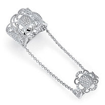 1.69 TCW Micro-Pave Cubic Zirconia Vintage-Inspired Floral Motif Knuckle Ring in Sterling Silver
