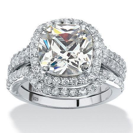 4.26 TCW Cushion Cubic Zirconia Three-Piece Halo Bridal Ring Set in Platinum over Sterling Silver at PalmBeach Jewelry