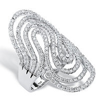 "1.44 TCW Round Cubic Zirconia Swirling Ribbon ""S"" Ring in Sterling Silver"