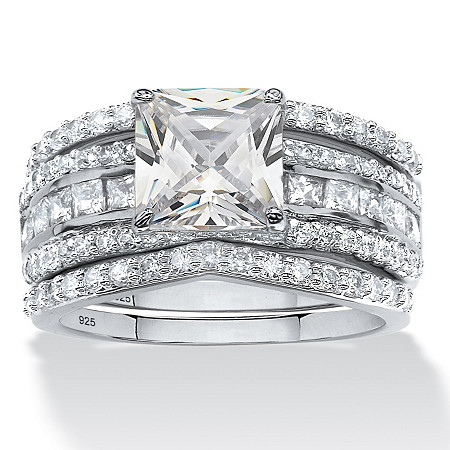 2.87 TCW Princess-Cut Cubic Zirconia Three-Piece Bridal Ring Set in Platinum over Sterling Silver at PalmBeach Jewelry