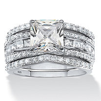 SETA JEWELRY 2.87 TCW Princess-Cut Cubic Zirconia Three-Piece Bridal Ring Set in Platinum over Sterling Silver