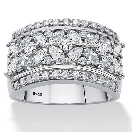 Marquise-Cut Cubic Zirconia Multi-Row Floral Ring 2.32 TCW in Platinum over Sterling Silver at PalmBeach Jewelry