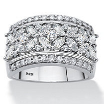 Marquise-Cut Cubic Zirconia Multi-Row Floral Ring 2.32 TCW in Platinum over Sterling Silver