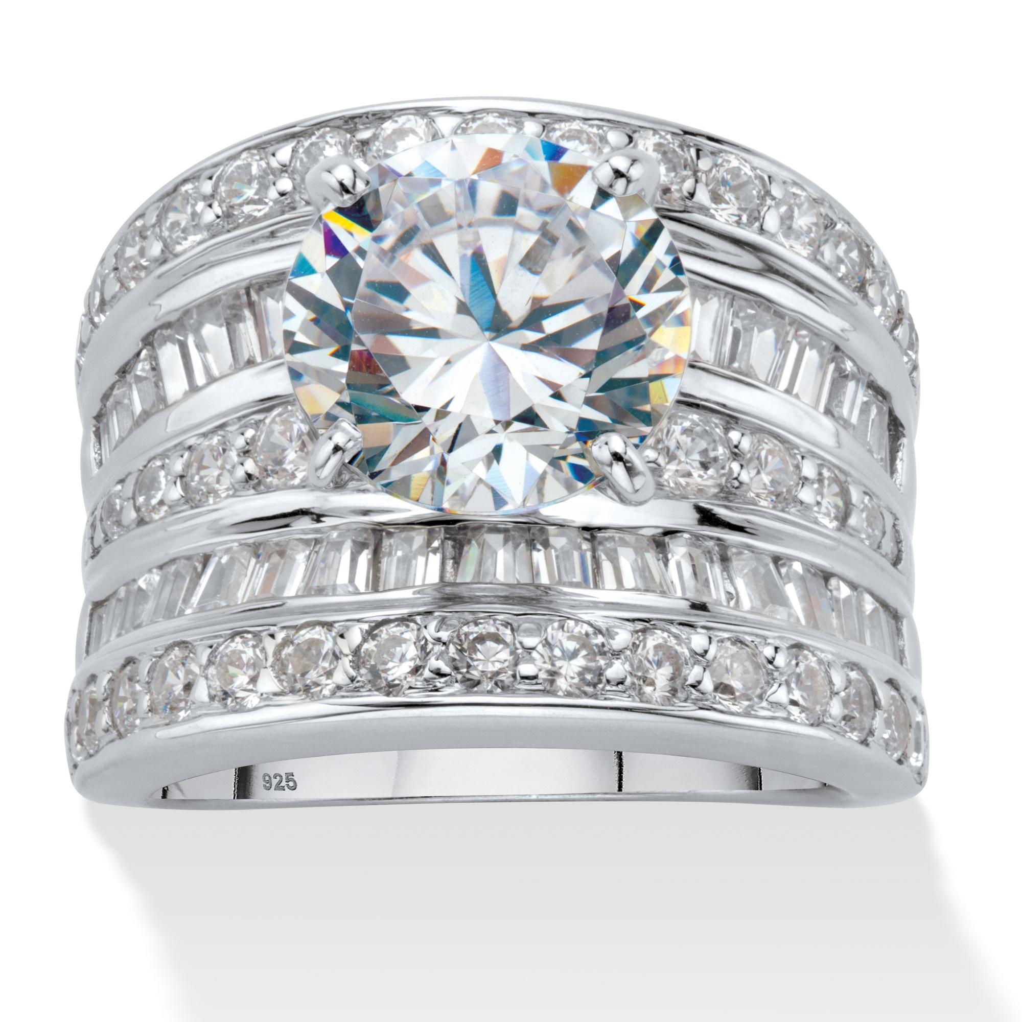 714 TCW Round Cubic Zirconia Multi Row Scoop Engagement Ring In Platinum Over Sterling Silver