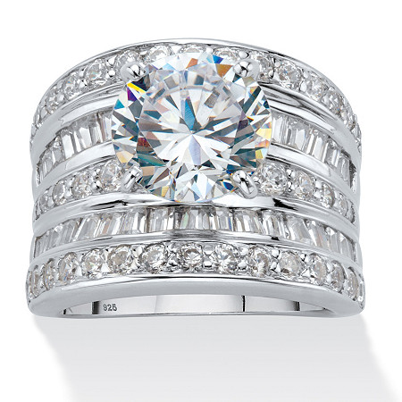 Round Cubic Zirconia Multi-Row Scoop Engagement Ring 7.14 TCW in Platinum over Sterling Silver at PalmBeach Jewelry