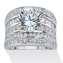 7.14 TCW Round Cubic Zirconia Multi-Row Scoop Engagement Ring in Platinum over Sterling Silver