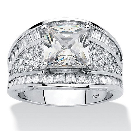 3.82 TCW Square-Cut and Baguette Cubic Zirconia Engagement Ring in Platinum over Sterling Silver at PalmBeach Jewelry