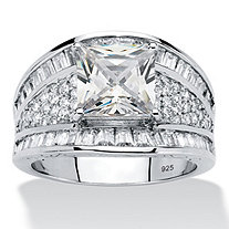 3.82 TCW Square-Cut and Baguette Cubic Zirconia Engagement Ring in Platinum over Sterling Silver