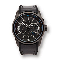 Men's Kenneth Cole Sport Chronograph with Black Rubber Strap in Stainless Steel Adjustable 8""