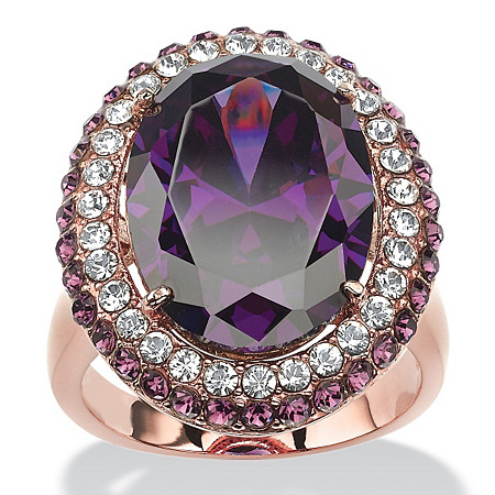 12.86 TCW Oval-Cut Amethyst Cubic Zirconia Double Halo Cocktail Ring Rose Gold-Plated at PalmBeach Jewelry