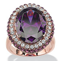 12.86 TCW Oval-Cut Amethyst Cubic Zirconia Double Halo Cocktail Ring Rose Gold-Plated