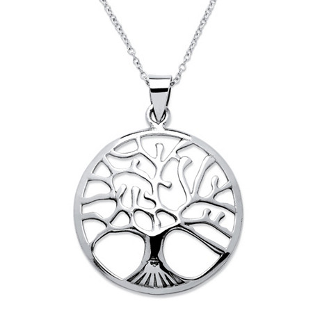 Tree of Life Openwork Pendant Necklace With Cable Chain in Sterling Silver Adjustable 18