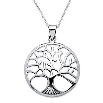 "Tree of Life Openwork Pendant Necklace With Cable Chain in Sterling Silver Adjustable 18""-20"""