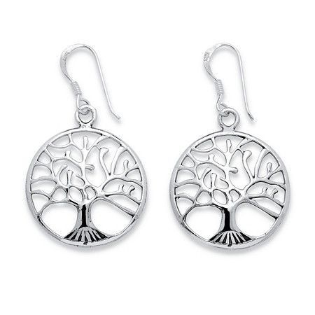 "Round Tree of Life Openwork Drop Earrings in Sterling Silver 7/8"" Length at PalmBeach Jewelry"