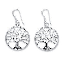 "Round Tree of Life Openwork Drop Earrings in Sterling Silver 7/8"" Length"