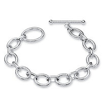 Diamond-Cut Oval Rolo-Link Bracelet in Sterling Silver 7 3/4