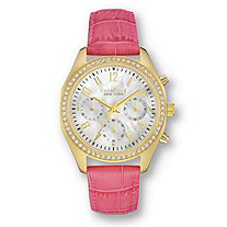 Caravelle Watch Designed in New York by Bulova With Pink Leather Band in Stainless Steel 7 1/2""