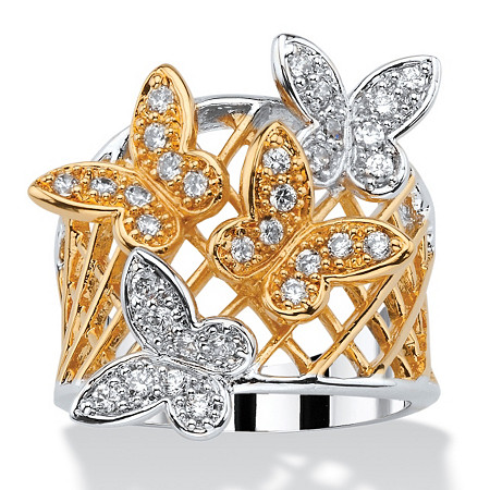 .48 TCW Pave Cubic Zirconia Two-Tone Butterfly Latticework Ring 18k Gold-Plated at PalmBeach Jewelry