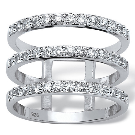 1 TCW Round Cubic Zirconia Triple Band Ring in Platinum over Sterling Silver at PalmBeach Jewelry