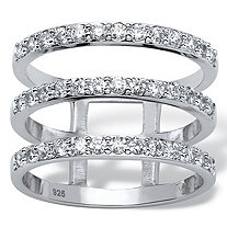 1 TCW Round Cubic Zirconia Triple Band Ring in Platinum over Sterling Silver