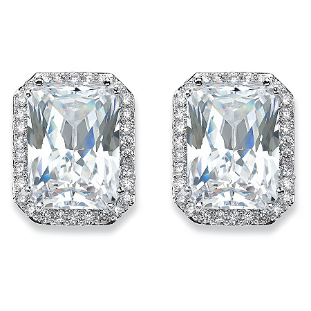 17.50 TCW Emerald-Cut Cubic Zirconia Halo Stud Earrings in Silvertone at PalmBeach Jewelry