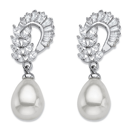 Teardrop Simulated Pearl and Marquise-Cut Cubic Zirconia Drop Earrings 3.08 TCW in Silvertone at PalmBeach Jewelry