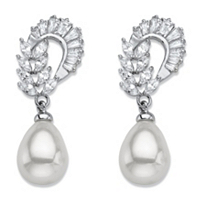 Teardrop Simulated Pearl And Marquise-Cut Cubic Zirconia Drop Earrings
