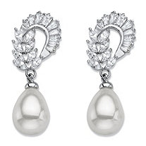 Teardrop Simulated Pearl and Marquise-Cut Cubic Zirconia Drop Earrings 3.08 TCW in Silvertone