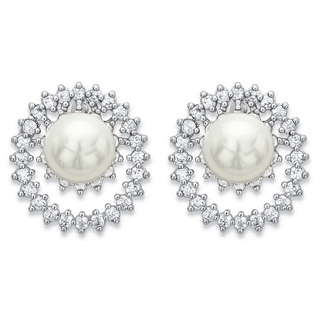 Round Simulated Pearl and Cubic Zirconia Double Loop Stud Earrings 1.80 TCW in Silvertone at PalmBeach Jewelry