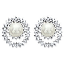 Round Simulated Pearl and Cubic Zirconia Double Loop Stud Earrings 1.80 TCW in Silvertone