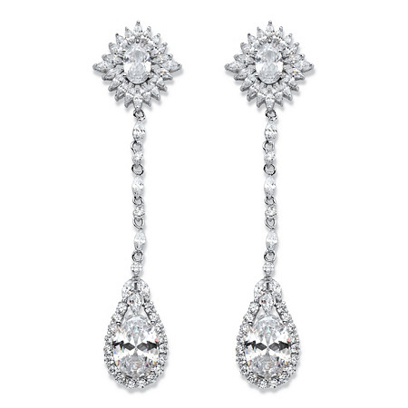 "Oval Cubic Zirconia Starburst Halo Drop Earrings 19.43 TCW in Silvertone 3.25"" at PalmBeach Jewelry"