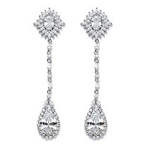 Oval Cubic Zirconia Starburst Halo Drop Earrings 19.43 TCW in Silvertone 3.25""
