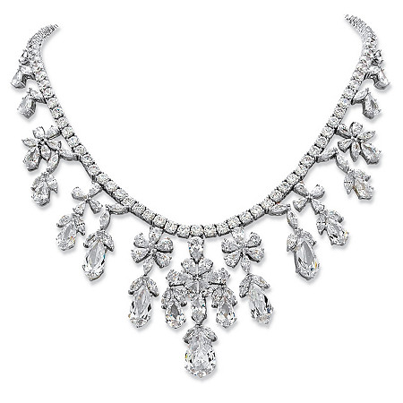 Multi-Cut Cubic Zirconia Floral Statement Necklace 76.43 TCW in Silvertone 16