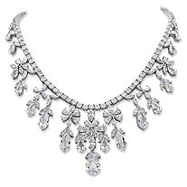 Multi-Cut Cubic Zirconia Floral Statement Necklace 76.43 TCW in Silvertone 16""