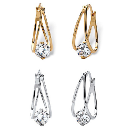 "8 TCW Round Cubic Zirconia Two-Pair Set of Split-Hoop Earrings Set in Silvertone and 14k Gold-Plated (3/4"") at PalmBeach Jewelry"
