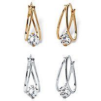 8 TCW Round Cubic Zirconia Split Hoop Two-Pair Drop Earrings Set in Silvertone and 14k Gold-Plated