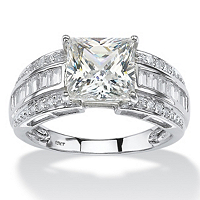 2.94 TCW Square-Cut And Step-Top Baguette Cubic Zirconia Engagement Ring In 10k White Gold ONLY $199.99