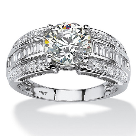2.82 TCW Round and Step-Top Baguette Cubic Zirconia Engagement Ring in 10k White Gold at PalmBeach Jewelry