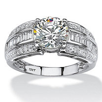 2.82 TCW Round and Step-Top Baguette Cubic Zirconia Engagement Ring in 10k White Gold
