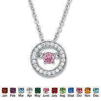".20 TCW ""CZ in Motion"" Birthstone and CZ Halo Pendant Necklace in Sterling Silver 18"""